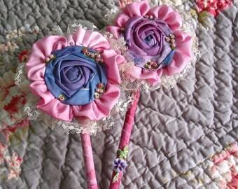 Victorian vintage style flapper 1920 wand vanity set purple pink lace silk