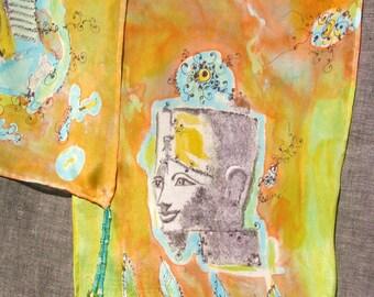 scarf shawl silk orange green egypt cleopatra handpainted handprinted beaded antique style original