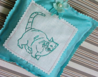 blue cat  lavender silk cotton  sachet silk handmade printed embroidered