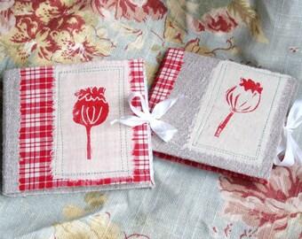 needle case book hand made white red poppy mona liza cotton linen felt