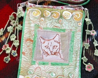 bag purse  Green embroidered  Silk collage crocheted flower Cat