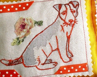 pillow shabby chic dog yellow silk lavender sachet   rose