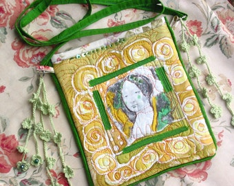 Purse bag silk green yellow  collaged quilted  handpainted handprinted