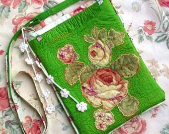 Purse bag silk green appliqued beaded crochet