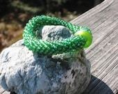 Lime Jello bead crochet bracelet..........................FREE SHIPPING