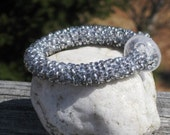 Crystal and Chrome bead crochet bracelet....FREE SHIPPING........