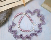 Mauve, pink and silver beadwoven necklace, Sterling clasp and beads.