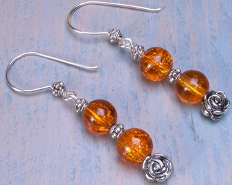 Toffee and silver earrings with Tibetan silver rose beads.