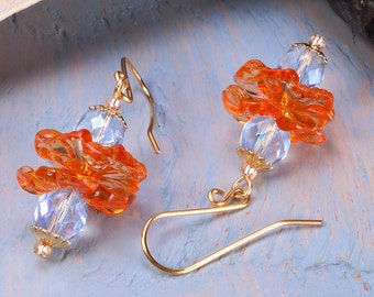 Orange and blue flower earrings, lucite flower earrings, gold plated ear wires.