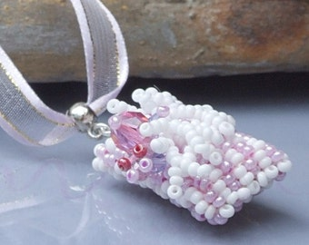 Pink white necklace, beadwoven pendant on pink ribbon.