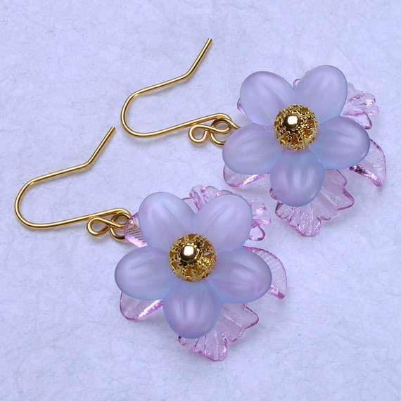 Blue and lilac lucite flower earrings, lucite flowers on gold plated wires.