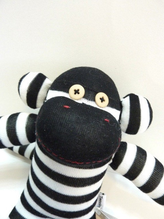 Pogo the Black and White Striped Sock Monkey