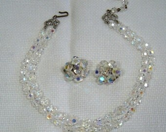 Vintage two strand Crystal Necklace with Earrings - Perfect for Weddings, Graduation