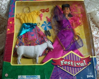 DOLL Vintage in Box  Totsy by Festival - with Little Goat and Clothing  1970-90