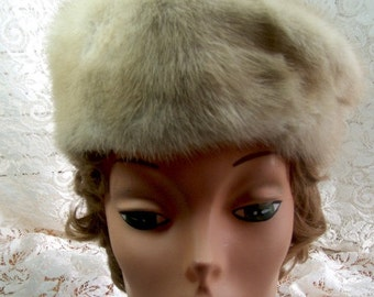 MINK HAT -  Beige and gray in color  - Cloche hat - Vintage but Still Beautiful
