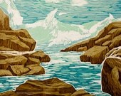 woodblock print - Maine Wave - jigsaw reduction relief