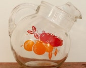 Vintage Cattywompus Red and Orange Fruit Glass Juice Tilt Ball Pitcher