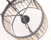 RESERVE for vszybala - Vintage Steel and Glass Crystal Chandelier Hanging Lamp
