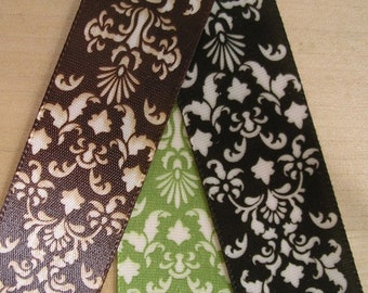 3 Yard - DAMASK Satin Ribbon. Your choice of 3 colors available