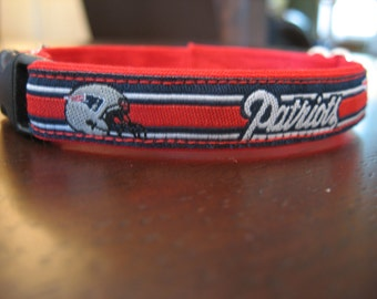 New England Patriots Cat or Small Dog Collar with Option of Red or Pink Backing