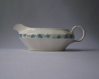 Antique Gravy Boat White & Blue Edwin Knowles China Co