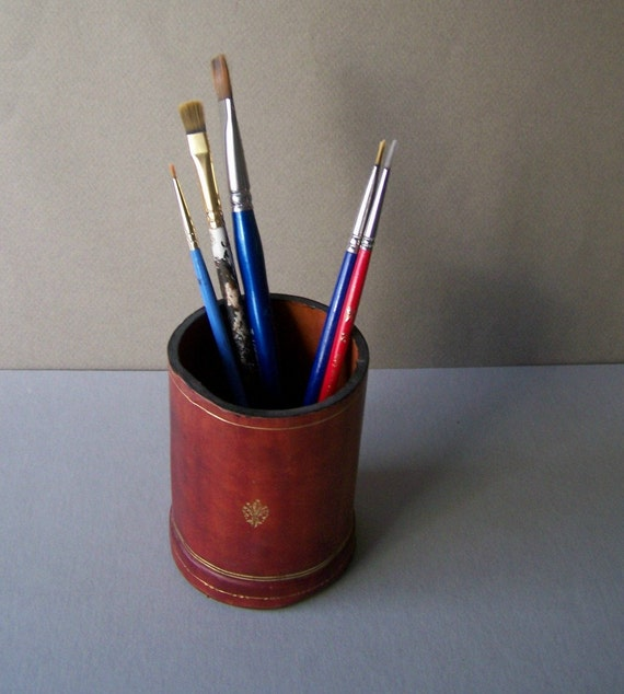 Vintage Leather Pencil Holder