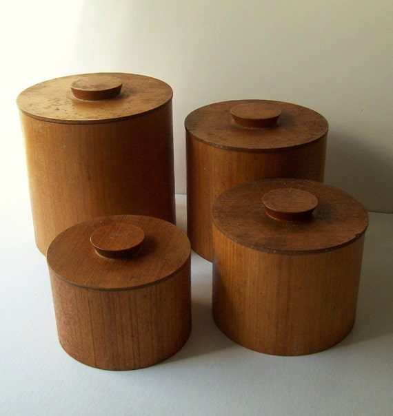 vintage wooden canister set set of 4 all wood kitchen canister set by lkwhatthecatdraggedn