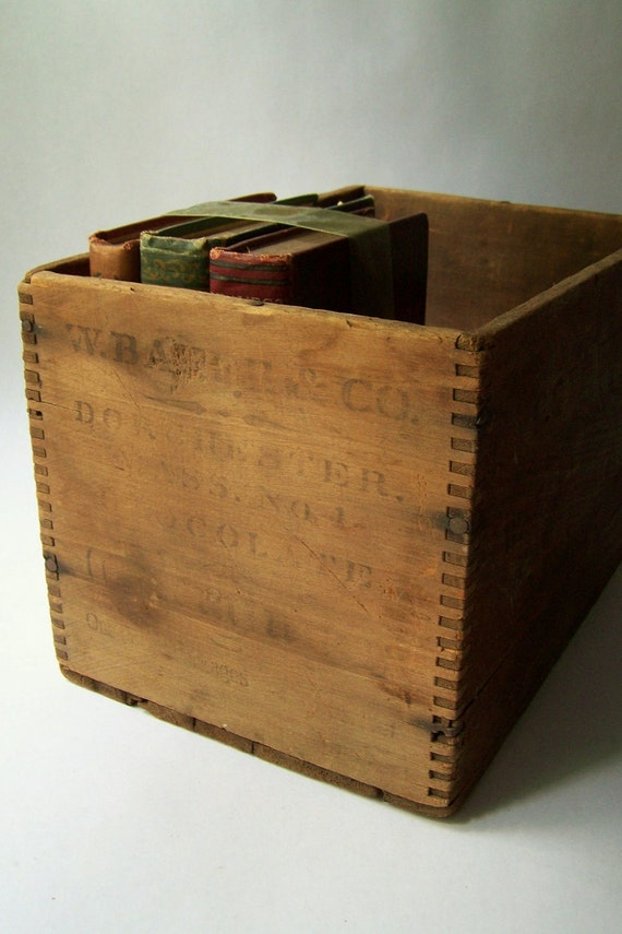 Antique Wooden Box/Crate Rustic Farmhouse Industrial