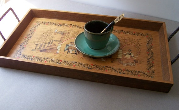 RESERVED....Vintage Folksy Wooden Tray