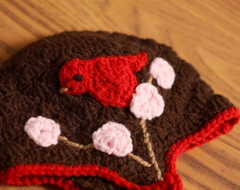 Red and Chocolate Bird Hat