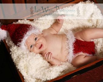 Santa Hat and Diaper Cover Set- GREAT PHOTOGRAPHY PROP