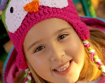 Lime and Hot Pink Ear Flap Owl Hat