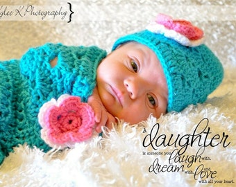 Turquoise Newborn Cocoon and Hat    RTS