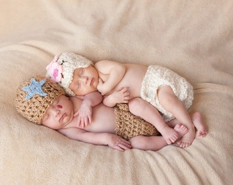 Chunky Shooting Star Hat and Diaper Cover Set- GREAT PHOTOGRAPHY PROP
