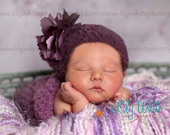 Newborn Cocoon and Hat in Raspberry Boucle