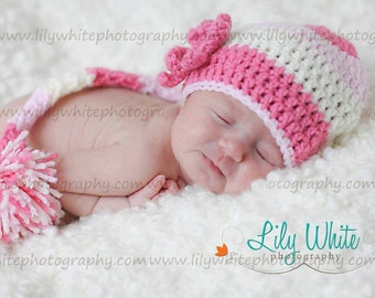 Girls Pink and Cream Elf Newborn Photo Prop Hat - Custom Colors Available