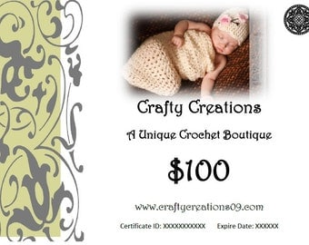 The Gift of Hand Crocheted Hats and More- 100 Dollar USD Gift Certificate