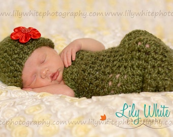 Olive Cocoon and Hat With Detachable Flower   RTS