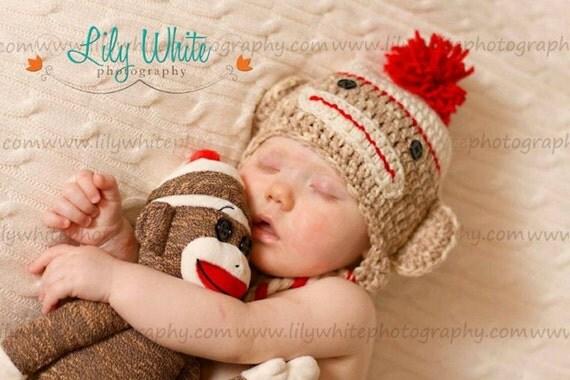Adorable Boy Ear Flap Sock Monkey Hat