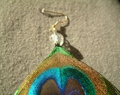 Peacock Feather Earrings CRYSTAL