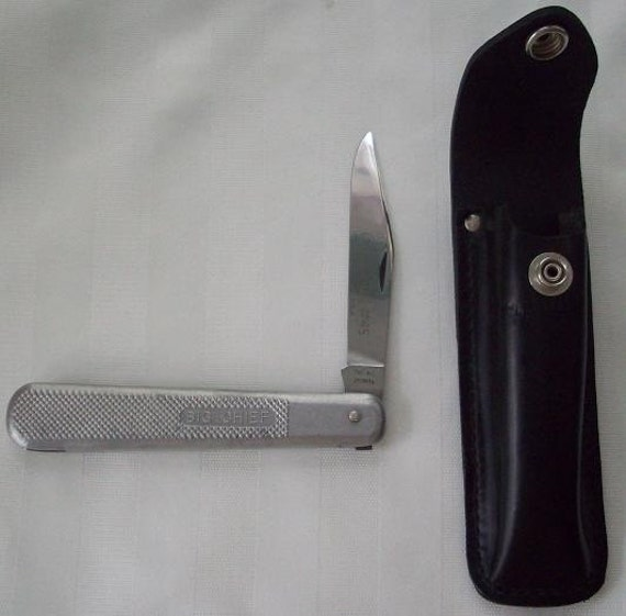 Queen Steel Big Chief Folding Pocket  Knife and Sheath Mint NICE