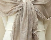 Clearance slightly defect Lace trims mocha brown linen scarf, wrap, very soft and light weight