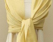 Weddings gift, Light yellow paisley pashmina bridal shawl, bridesmaids wrap scarf, personalized gifts
