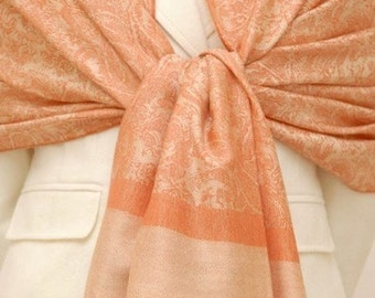 Light yellow and orange paisley shawl, scarf, wrap for bridesmaids gifts, bridal party, weddings gift, gifts, mothers day