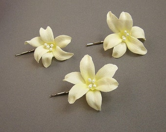 wedding hair accessories - 3 cream velvet lily bobby pin, bridal hair accessories