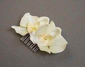 Ivory silk Orchid hair comb, any occasion, wedding, bridesmaid, hairpiece