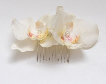 Off White Silk Orchid hair comb, weddings, bridesmaids, hairpiece