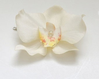 Off white Orchid flower hair bobby pin, bridal, bridesmaid, hairpiece