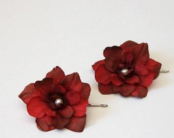 Set of 2 burgundy red delphinium flower hair pins, bridal, bridesmaids hair pieces