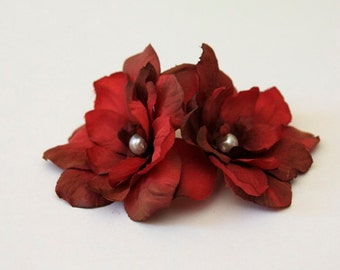 Wedding hair accessory burgundy flowers hair comb, bridal, bridesmaids hairpiece